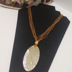 Vintage Shimmer Acrylic Pendant Necklace